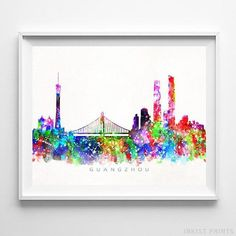 Guangzhou China Watercolor Skyline Wall Art Home Decor Poster UNFRAMED - Click photo for details - Dog spaces in house Dream house ideas Watercolor Artwork, Watercolor Print, Wall Art Prints, Poster Prints, Posters, Nursery Wall Art, Guangzhou, Tapestry, Click Photo