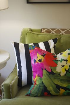 Green nailhead sofa // Devon Rachel