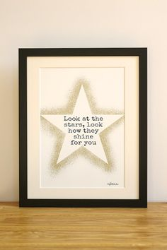 Look at the stars. Song lyrics, first anniversary gift present. Birthday, wedding, new home. Gift for Mum Dad Husband Wife friend new home on Etsy, £20.00