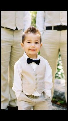 Ring bearer outfit.. Would match the groomsmen w/o jacket but only ring bearer wears a bowtie!