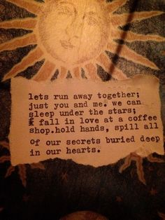 Let's run away together...