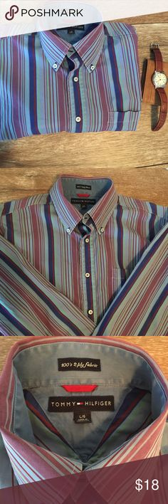 Tommy Hilfiger Men's Long Sleeve 👔 Tommy Hilfiger Long-Sleeve Button Down Men's Shirt, Size Large. Gorgeous colors. Button down collar. One chest pocket. 2 spare buttons sewn into interior where fabric content/care Tag has been removed/cut by my son🙄. In EUC-no rips, stain or tears. Tommy Hilfiger Shirts Casual Button Down Shirts