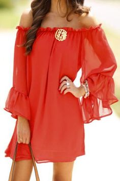 Red Long Sleeve Off The Shoulder Dress