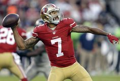San Francisco 49ers quarterback Colin Kaepernick (7) passes against the Seattle Seahawks during the first half of an NFL football game in Santa Clara, Calif., Thursday, Oct. 22, 2015. (AP Photo/Ben Margot)