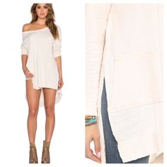 1 HOUR SALE!  FREE PEOPLE A Line Tunic NWT NWT AND SOLD OUT EVERYWHERE! The SOFTEST top ever in the world, EVER!  Retail $98. Color is Ivory.  Side slit pleated Free People Tops Tunics