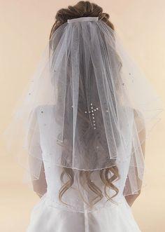 Straight Edge Communion Veil with Cross - LA139 Linzi Jay Veil - Beautiful Sparkling Scattered Diamantes with Crystal Pearl Cross- Communion veil for