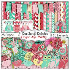 #Owl Digital Scrapbook Kit Color Me Pretty Mega by DigiScrapDelights  #Digital #Scrapbook #elements#pink #Green #Mint Green #owls #birds