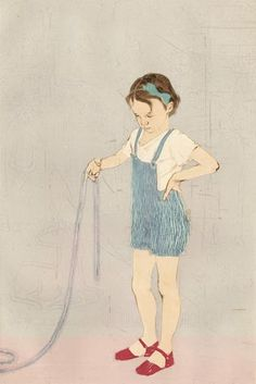 Ellen Heck. Girl and Silver II, 2013. Drypoint and wood block. Edition 6. 18 x 12 inches. $600