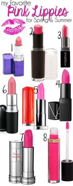 The Best Pink Lipsticks to try out this spring and summer, or any time of year! From high end to drugstore products at a cheaper price, add them to your makeup kit or collection! Best Pink Lipstick, Pink Lipsticks, Lipstick Colors, Lip Colors, Bright Colors, Makeup Dupes, Skin Makeup, Makeup Cosmetics, Makeup Eyebrows