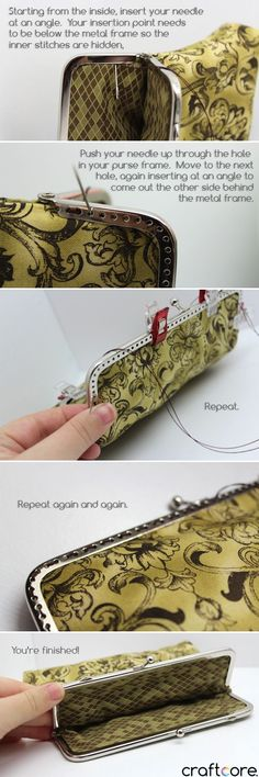 How to Sew a Coin Purse - Lined construction with a Snap Clasp Frame                                                                                                                                                                                 More