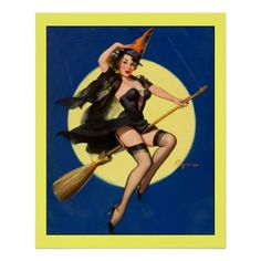 Vintage Retro Witch on Broom Pin Up Girl By Gil Elvgren. Gil Elvgren (March 15, 1914 – February 29, 1980), born Gillette Elvgren, was an American painter of pin-up girls, advertising and illustration. Elvgren was one of the more important pin-up and glamour artists of the twentieth century. Today he is best known for his pin-up paintings for Brown & Bigelow. Elvgren studied at the American Academy of Art.  Elvgren was a classical American illustrator. He was a master of portraying the…