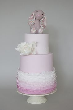 Girl Christening Cake - Ruffles and stuffed toy Raspberry Cake Filling, Communion Cakes, Gorgeous Cakes, Girl Cakes, Love Cake, Macaron, Cute Cakes, Celebration Cakes, Baby Shower Cakes