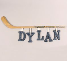 Possible wall letters if going with hockey theme.maybe if we liked hockey Boys Hockey Bedroom, Hockey Room, Hockey Baby, Kids Sports Bedroom, Hockey Nursery, Wooden Wall Letters, Letter Wall, Painted Letters, Boy Room