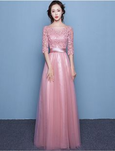 1950s Vintage Inspired Style Modest Lace Evening Prom Dress