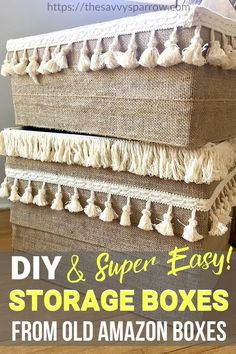 DIY Storage Boxes - Easy and No Sew! Love these DIY storage boxes made from repurposed cardboard box Craft Room Storage, Cardboard Box Storage, Fabric Storage Boxes, Decorative Storage Boxes, Cardboard Crafts, Diy Storage Apartment, Used Cardboard Boxes, Cardboard Castle, Amazon Box