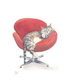 by Deidre Wicks Original Cat Watercolour - Mid Century Modern Chair, Cat Nap, Tabby Cat, 8x10