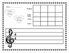 The Sweetest Melody: Candy Hearts Activity Packet--composition for Valentine's… Valentines Day Songs, Valentine Music, Valentines Recipes, Music Classroom, Classroom Ideas, Music Activities, Music Games, Music Worksheets, Music Lessons