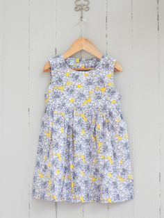 Navy and Yellow Flowers Dress Kids Wardrobe, Flower Dresses, Fun Prints, Pyjamas, Yellow Flowers, Cotton Fabric, Summer Dresses, Navy, Clothes