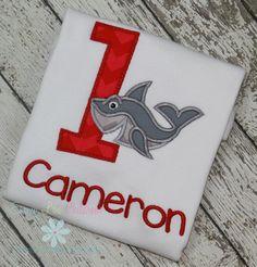 Super awesome Shark Shirt!  Great birthday theme shirt!  www.emmylouchildrens.etsy