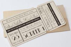 Unique Cinema Ticket Wedding Invitation with Wallet - Vintage Wedding Stationery Scotland VOWS Award Nominee 2013 $2.00
