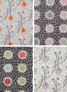 Fabric designs for Liberty by Angie Lewin. Winter Stem and Winter Thistle in four different colourways.