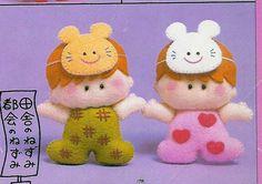 Menina, Menino e Coelhinhos em feltro com moldes « lilybabyshop