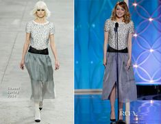Emma Stone In Chanel - 2014 Golden Globe Awards  My friends and I were shocked when she walked on stage in this completely unflattering look