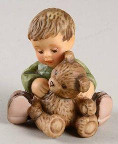 Goebel Berta Hummel Figurines Warm Bear Hugs-Boy With Teddy - Boxed