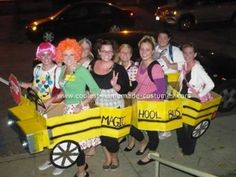 Homemade Magic School Bus Group Halloween Costume: A group of eight young women decided to transform themselves into a Homemade Magic School Bus Group Halloween Costume for Halloween.
