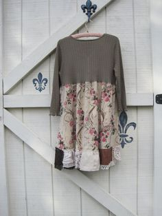 Boho dress rustic artsy bohemian hippie dress pink by ShabyVintage