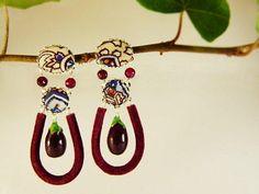 Eggplants earrings red agate tissue  fruit earrings  natural