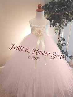 Blush Flower Girl Dress Ivory Lace over Light Blush Tulle - Ivory Lace Tutu Dress Flower Girl Dress Sizes 2, 3, 4, 5, 6 up to Girls Size 8