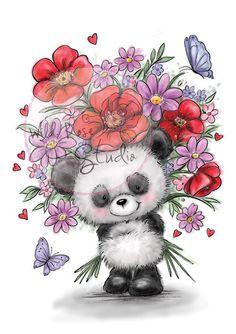 ❤️Wild Rose Studio ~ Panda with Flowers