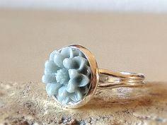 Ringe - FLEUR GRAU Blüten Ring verstellbar Blume silber - ein Designerstück von…