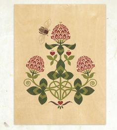 Red Clover & Bee Print by Little Gold Fox Designs on Scoutmob Shoppe