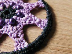 Crochet earrings lace earrings hoop earrings by FarbotyKnoty Lace Earrings, Crochet Earrings, Hoop Earrings, Plastic Beads, Lace Making, Earring Backs, Cotton Thread, Crochet Lace, Lilac