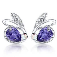 Ozsale - Tanzanite Platinum Plated Stud Earrings - Ozsale.com.au