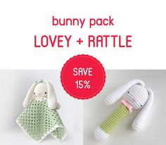Bunny Pack  Bunny Lovey and Rattle Set  Baby Crochet by TillySome