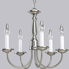 Brushed Nickel Five-Light Chandelier for Dining Room (simple, yet elegant).