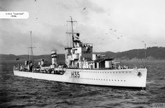HMS Hunter(H35), a H class Destroyer built by Swan Hunter, Tyne & Wear & completed 30/09/36. Whilst enforcing the arms embargo during Spanish Civil War struck a mine south of Almeira on 13/05/37. 8 died & 24 wounded. WW II after service in Atlantic was reassigned to 2nd Destroyer Flotilla at Scapa Flow. On 10/04/40 with 4 other H class destroyers she attacked the German destroyers at Narvik on 10/04/40 in what was to be known as !st Battle of Narvik. She was torpedoed & sank with 107…