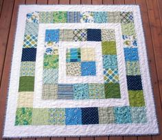 black white and teal quilt, pattern called Big Block Quilt from ... : big block baby quilt patterns - Adamdwight.com