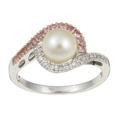 10k White Gold Freshwater Pearl and Sapphire Ring