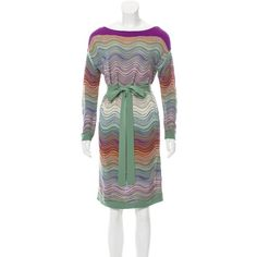Pre-owned M Missoni Patterned Knee-Length Dress ($65) ❤ liked on Polyvore featuring dresses, green, long sleeve print dress, green print dress, pattern dress, longsleeve dress and long sleeve knee length dress