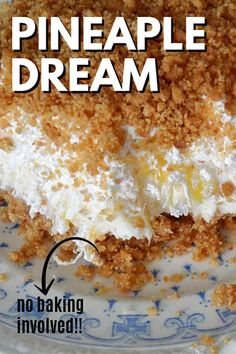 Oh my gosh, this is the BEST! My grandma always made this and now my mom does. Guess I'll have to start making it too because it just rocks! It's called Pineapple Dream Dessert. # just desserts Pineapple Dream Köstliche Desserts, Summer Desserts, Easy Yummy Desserts, Easy Potluck Desserts, Sweet Desserts, Dessert Simple, Pineapple Dessert Recipes, Pinapple Dream Dessert, Pineapple Dream Pie Recipe