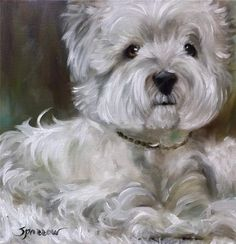 SPARROW West Highland westie dog art painting pet portrait By Mary Sparrow of Hanging the Moon Studio