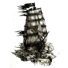 #AliExpress The Black Pearl Pirate Ship Waterproof Temporary Tattoos harajuku men Fake Tattoo hand made sticker Henna Tatoo sleeve tatuajes (32796659275) #SuperDeals