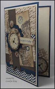 """At the recent Perth Heartfelt Stampin' Event we received a free stamp set """"Clockworks"""". When I saw this in our Annual Catalogue I was very . Masculine Birthday Cards, Masculine Cards, Deco Time, Tattered Lace Cards, Birthday Cards For Women, Get Well Cards, Card Sketches, Creative Cards, Vintage Cards"""