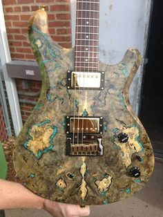 Knaggs Guitars  Severn T2 Trembuck with Burl Maple top and inlaid Turquoise stone