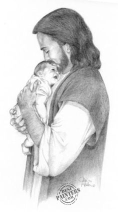 Pencil sketch of Jesus with an infant. I love these sketches. Beautifully done.