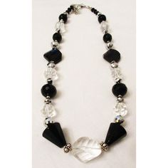 SALE Black Onyx Jewelry, Clear Rock Quartz, Sterling Silver Spacers,... ($69) ❤ liked on Polyvore featuring jewelry, sterling silver gemstone jewelry, quartz jewelry, sterling silver jewelry, clear quartz crystal jewelry and crystal jewelry
